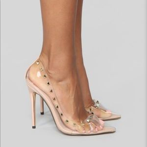 Nude clear pumps with gold studs 8.5 BRAND NEW🌟